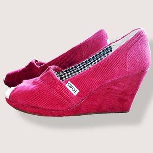 Toms Red Corduroy Peep Toe Wedges 6.5